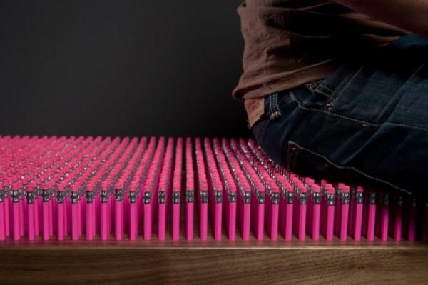 Pencil design bench closer