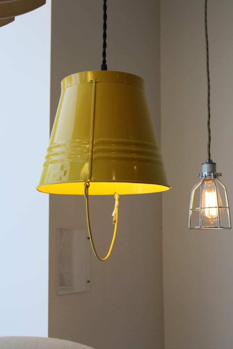 This whimsical pendant light is also from Pedersen & Lennard of Cape Town South Africa. The galvanized steel bucket is powder-coated and also comes in red, yellow, white and black.