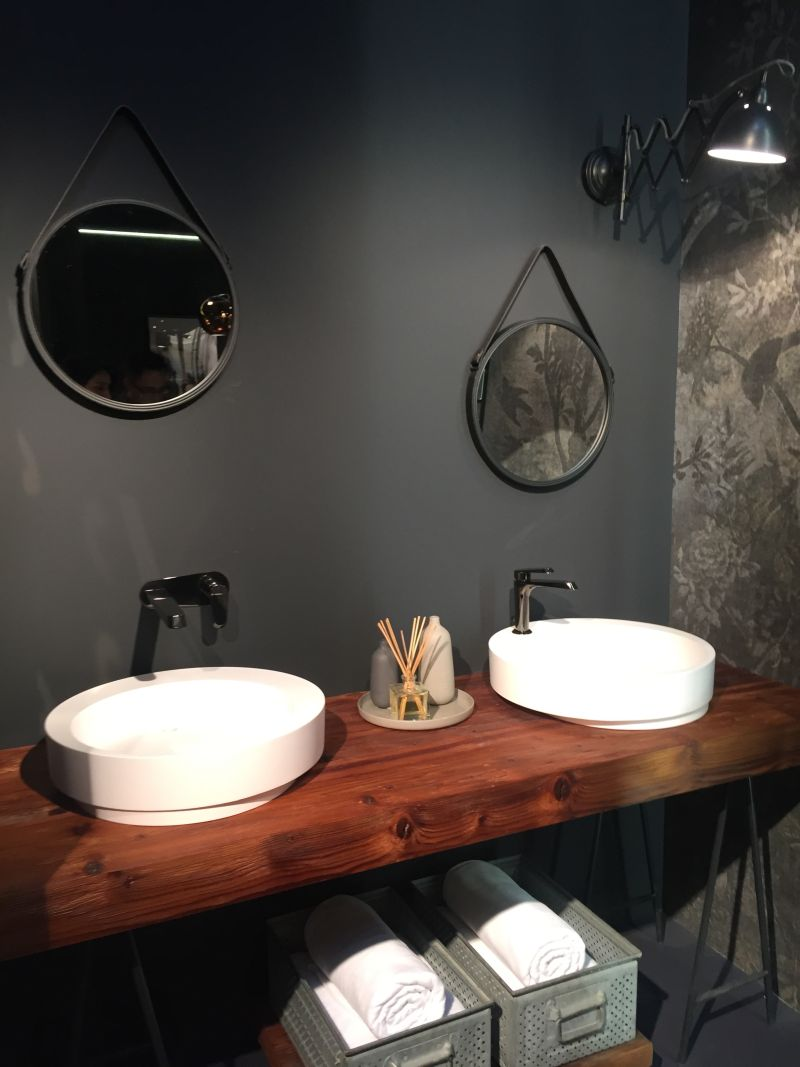 Porcelain sink with wood countertop
