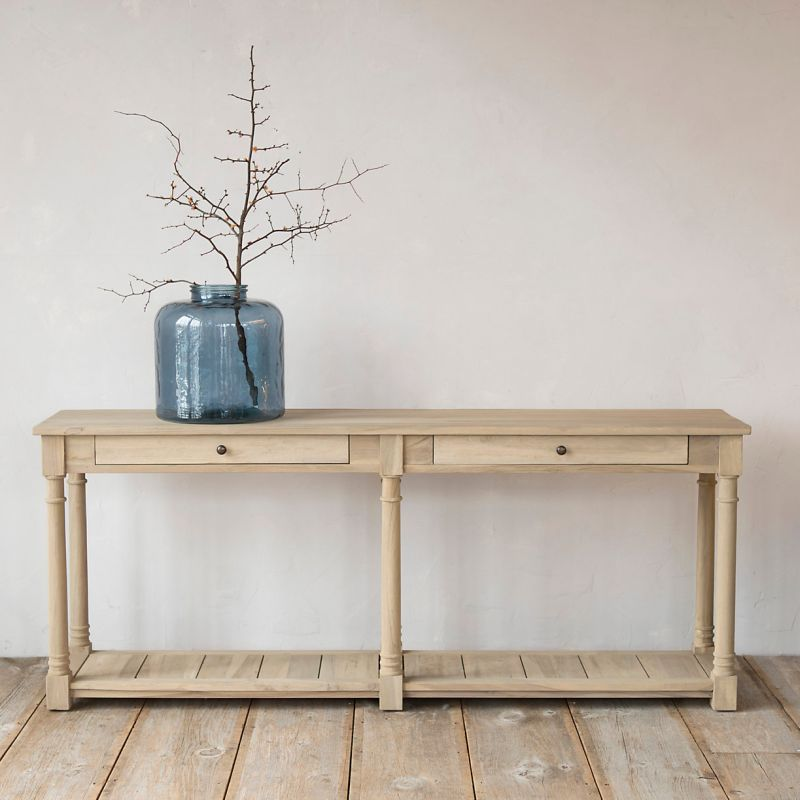 Protected Teak Two Drawer Console