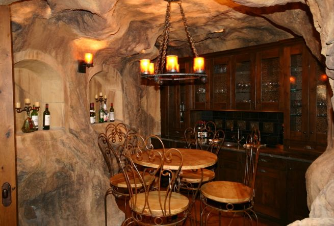 Real cave wine room