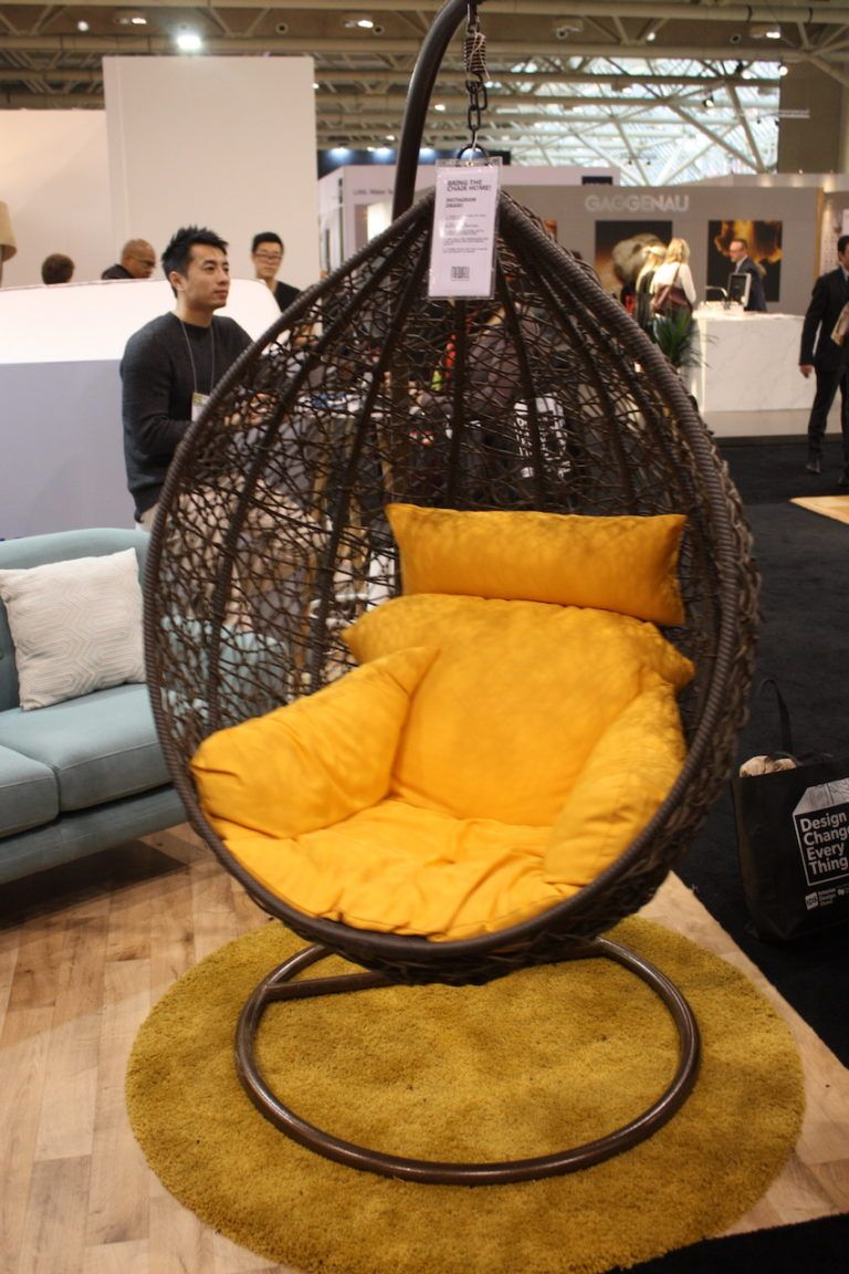 Also from Newell is the Repos Chair, which is ready to move outdoors when the weather turns nice. This hanging cocoon chair is water-resistant. incredibly comfortable and available with cushions of various colors.