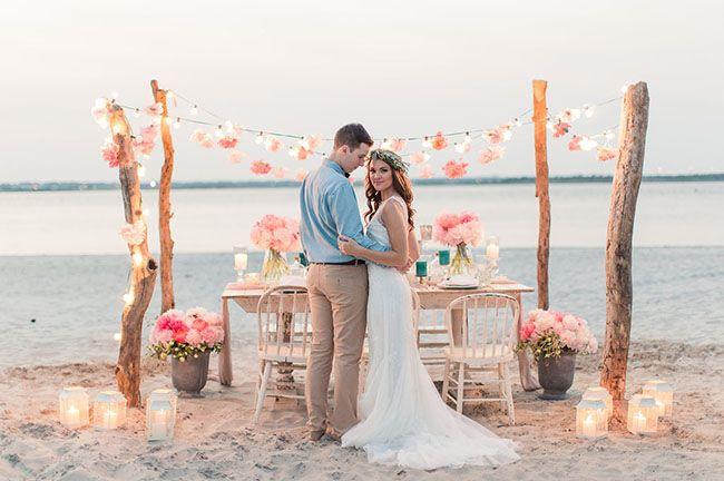 Romantic wedding on the beach arch