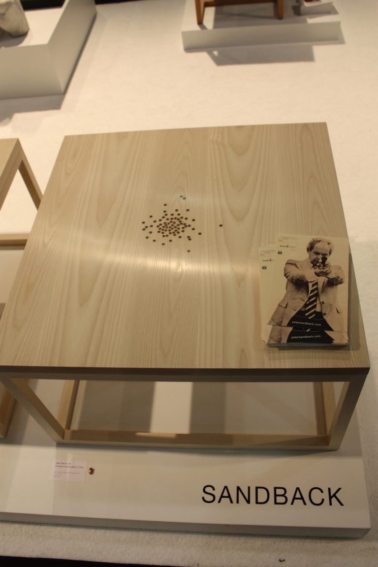 Bullet spray design on a table at ICFF 2016.