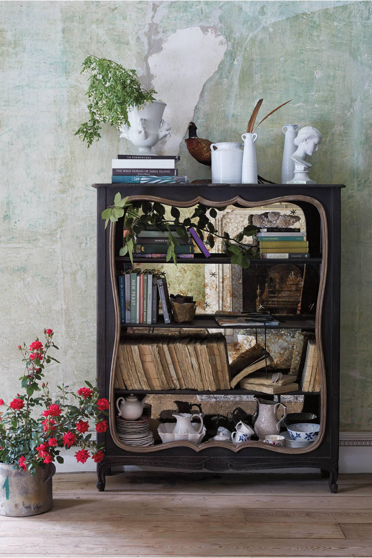 Shabby mirrored bookcase