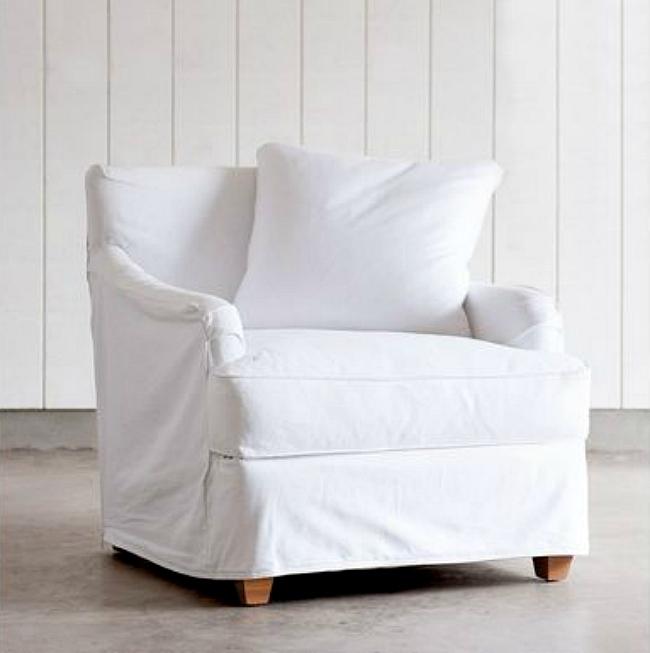 Shabby slip covered chair