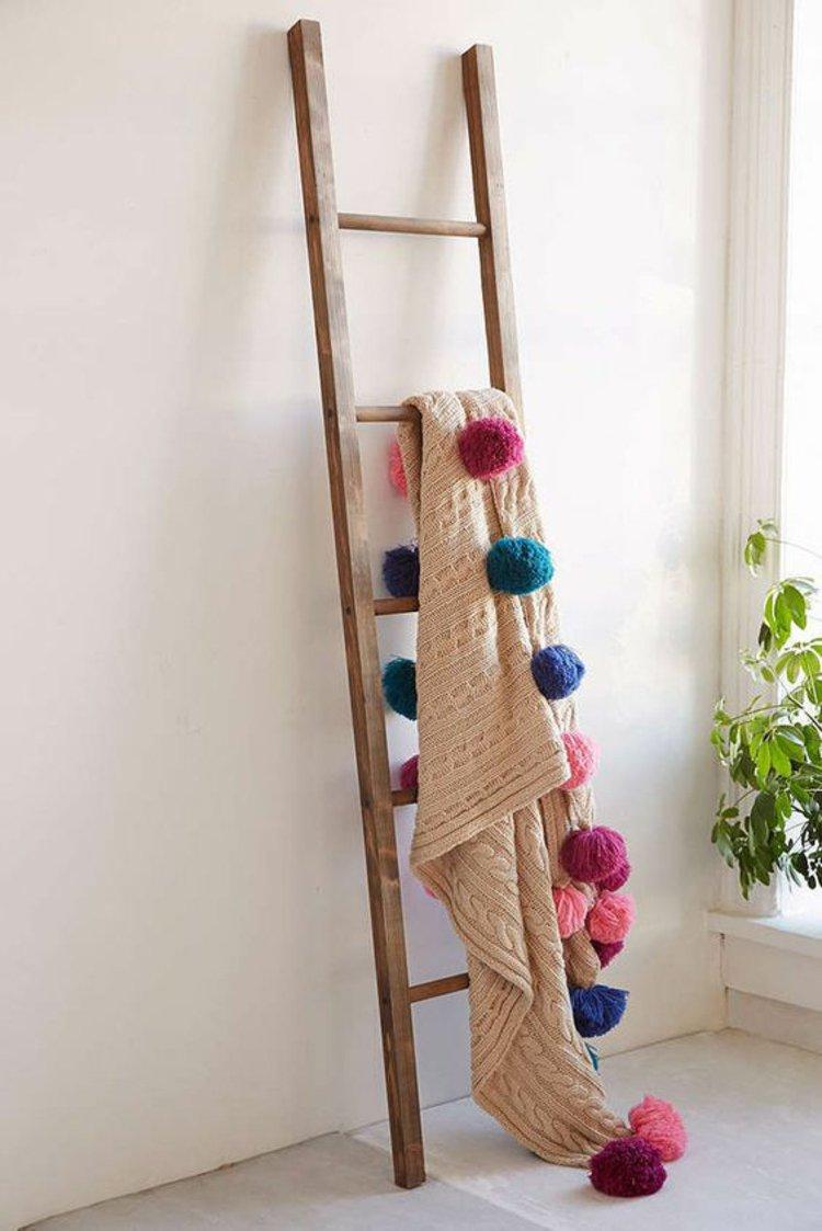 Shabby wooden blanket ladder