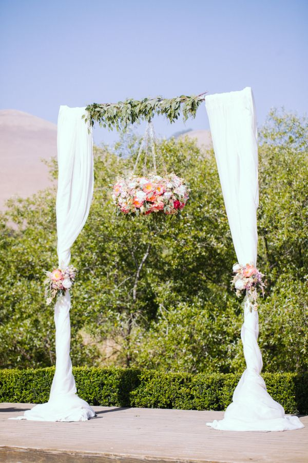 Simple wedding arch with two poles