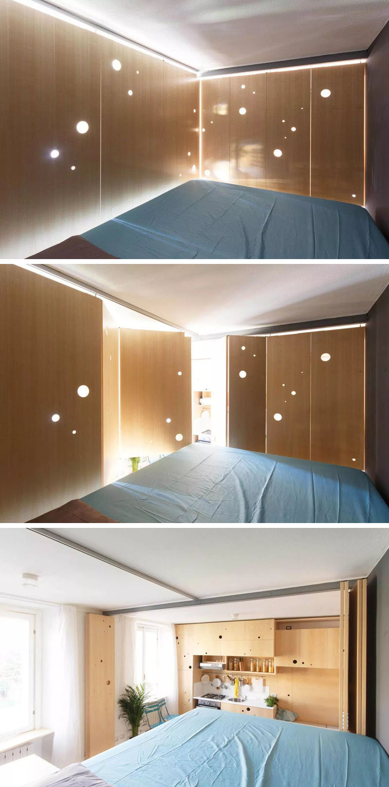 Small apartment in Milan opened and closed bedroom walls