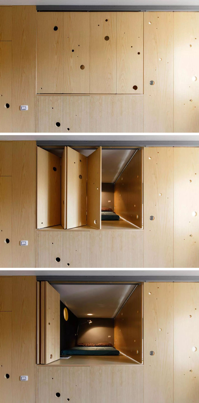Small apartment in Milan opened and closed divider window