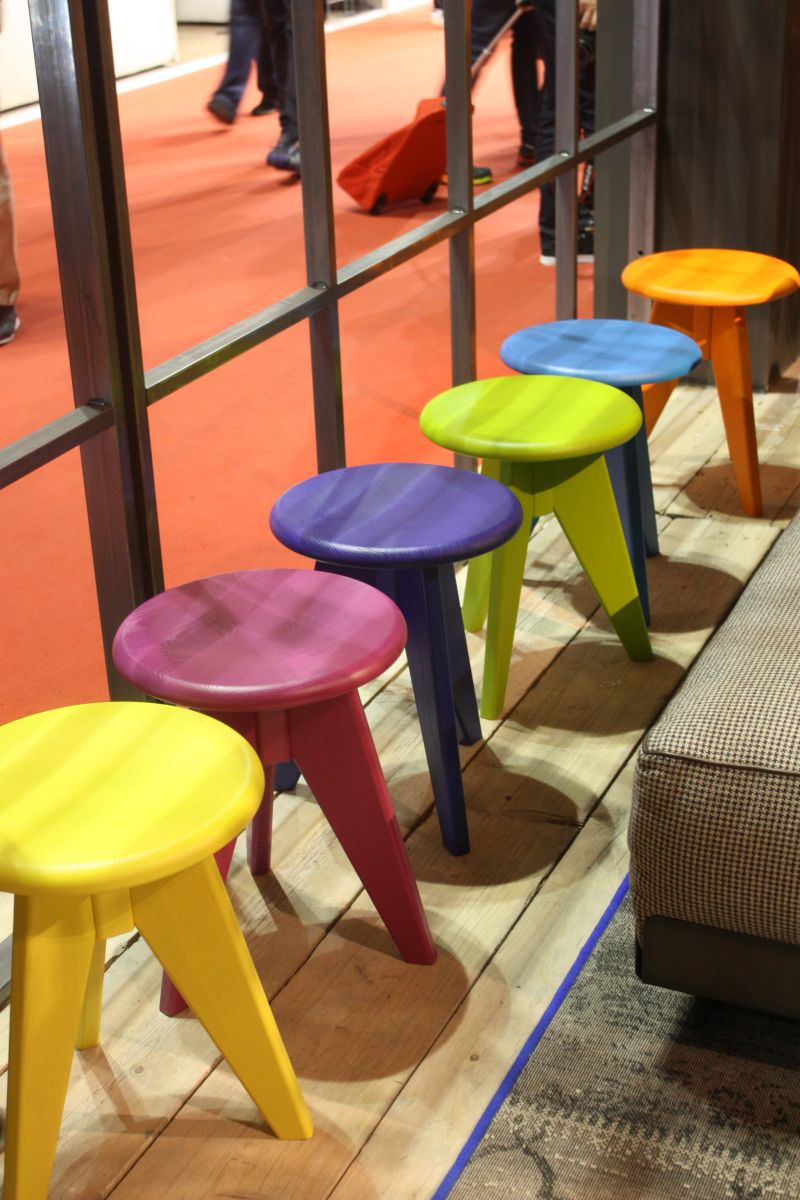 Small colorful stools for playroom