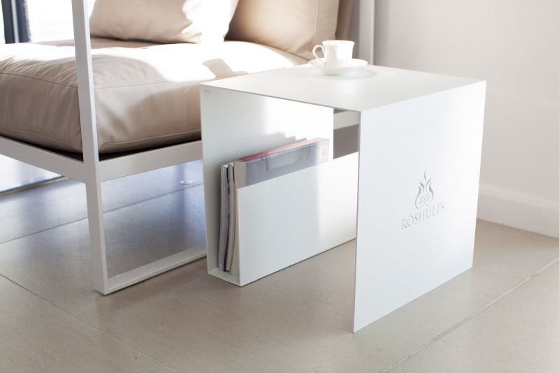 Square metalic coffee table with magazine storage