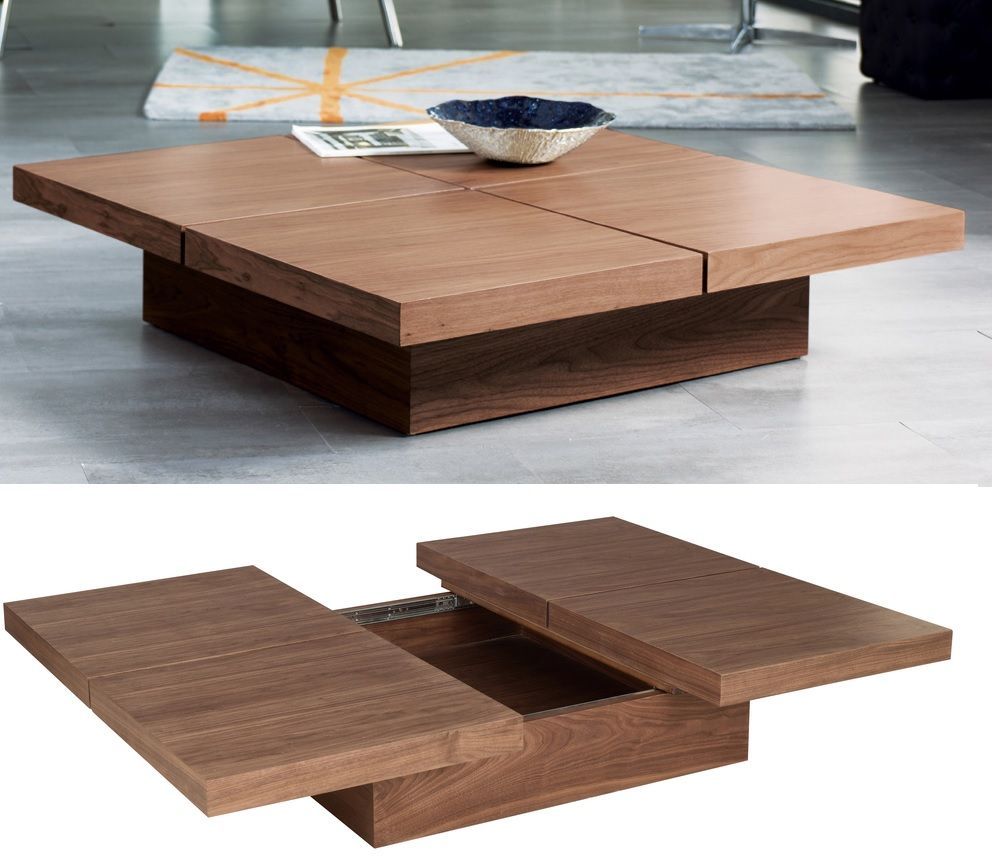 Stylish Coffee Tables That Double As Storage Units : Square wood coffee table with storage from www.homedit.com size 992 x 868 jpeg 86kB