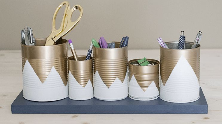 Tin cans in gold for an organized office