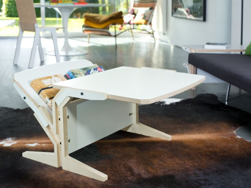 Vetical multi layer coffee table with magazine rack