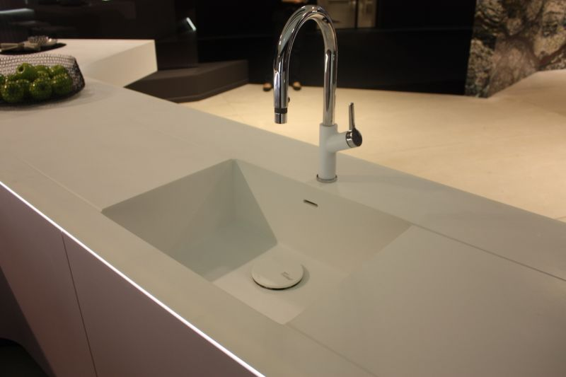 White countertop sink with led strip lights