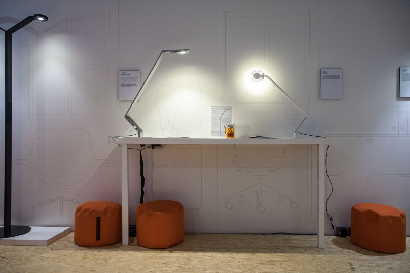 White modern desk with pops of orange