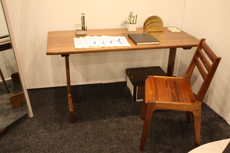 Wood desk with a midcentury look