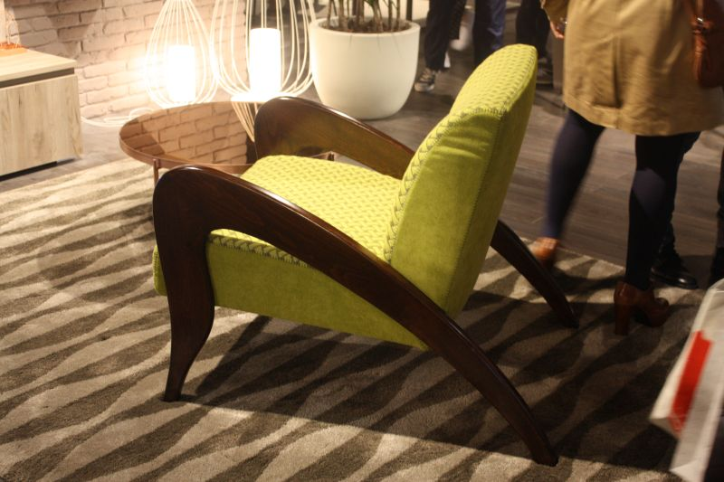 chartreuse armchair with brown legs-arms