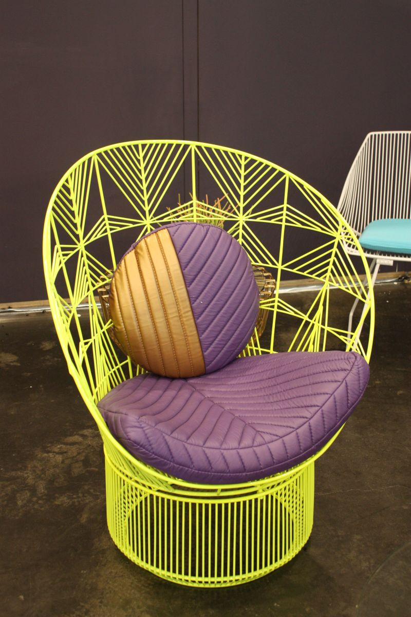 chartreuse outdoor chair from wire