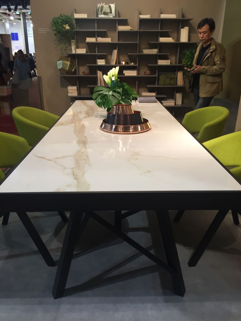 marble top dining table with chartreuse chairs