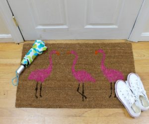 Summer Pink Flamingo Painted Doormat