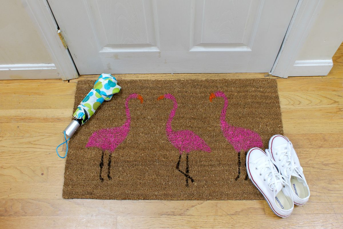 modern Summer Pink Flamingo Painted Doormat
