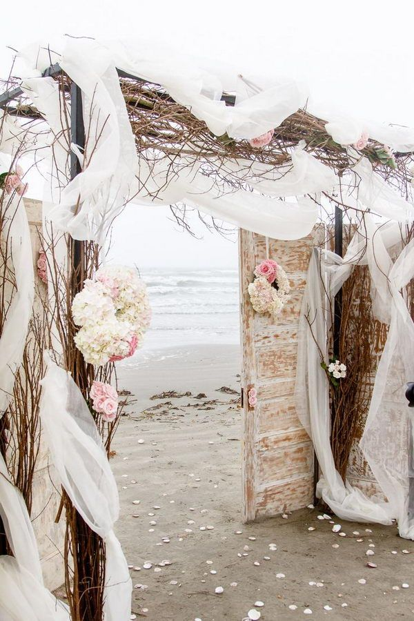 Rustic Beach Wedding Arch With Old Doors And Wine Branches