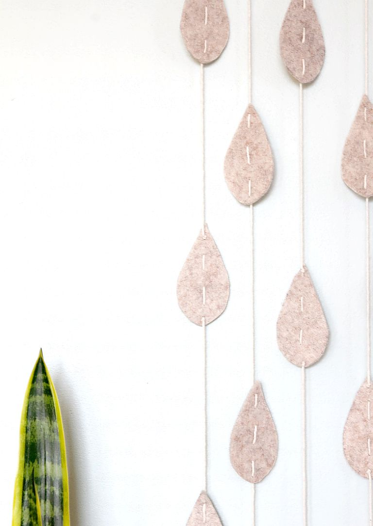 Adorable Raindrop Wall Hanging   Felt Leaves