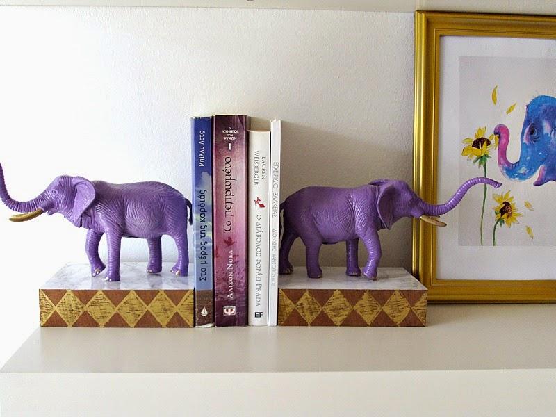 Animal shaped bookends - elephant