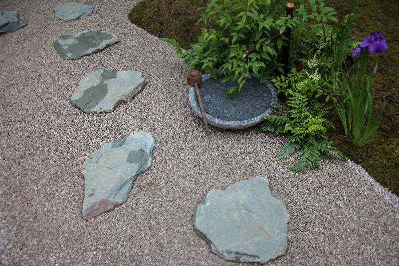Backyard pathway with gravel and flagstone