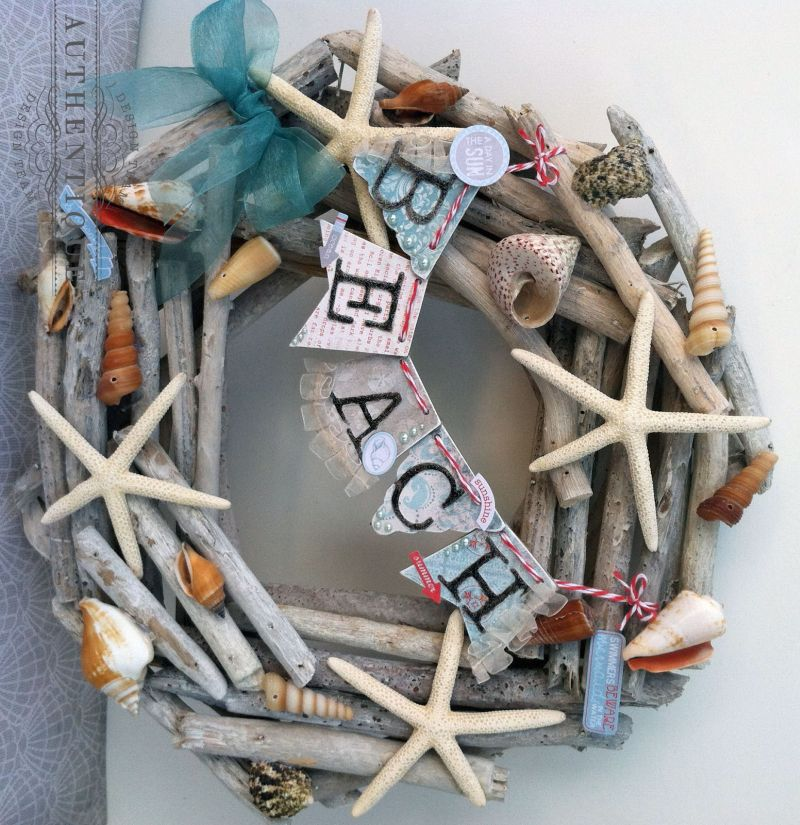 Beach themed driftwood wreath