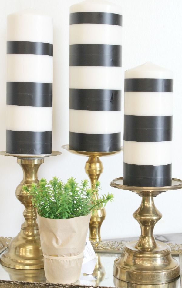 Black and white vintage brass candles