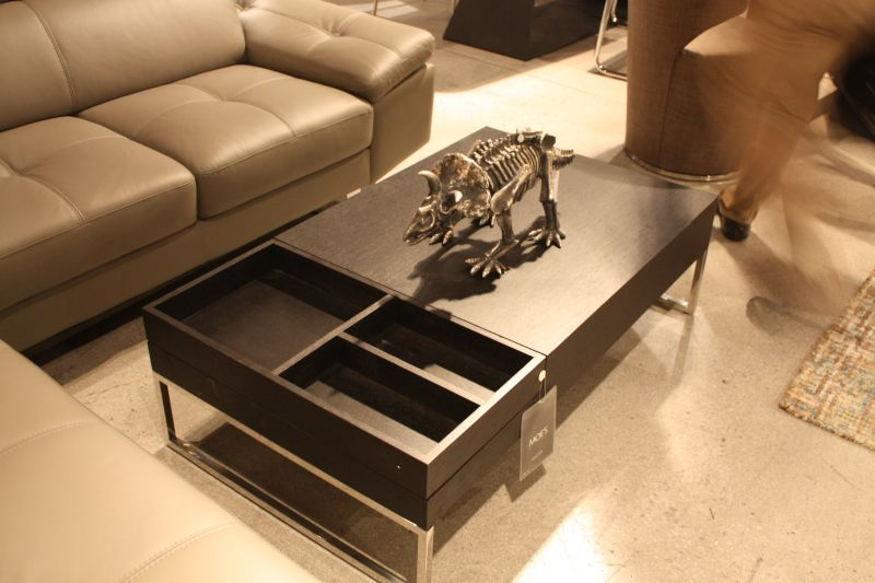 Black coffee table with storage spaces
