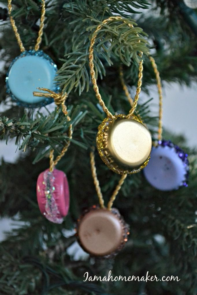 Bottle cap macaron ornaments for christmas