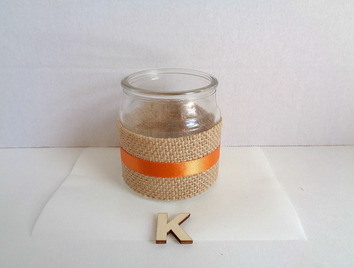 Burlap Monogram Jar Step