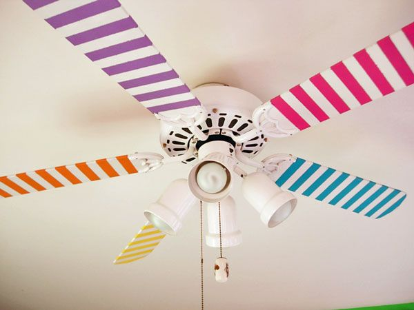 Colorful ceiling fan with washi tape