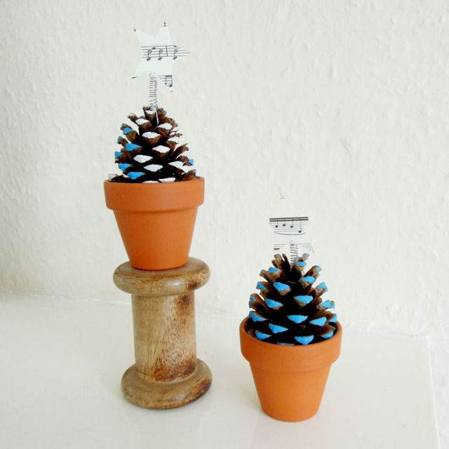 Colorful make pine cone trees