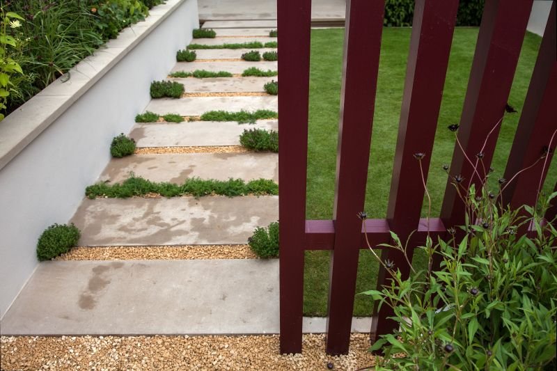 Concrete pavers with little Grass