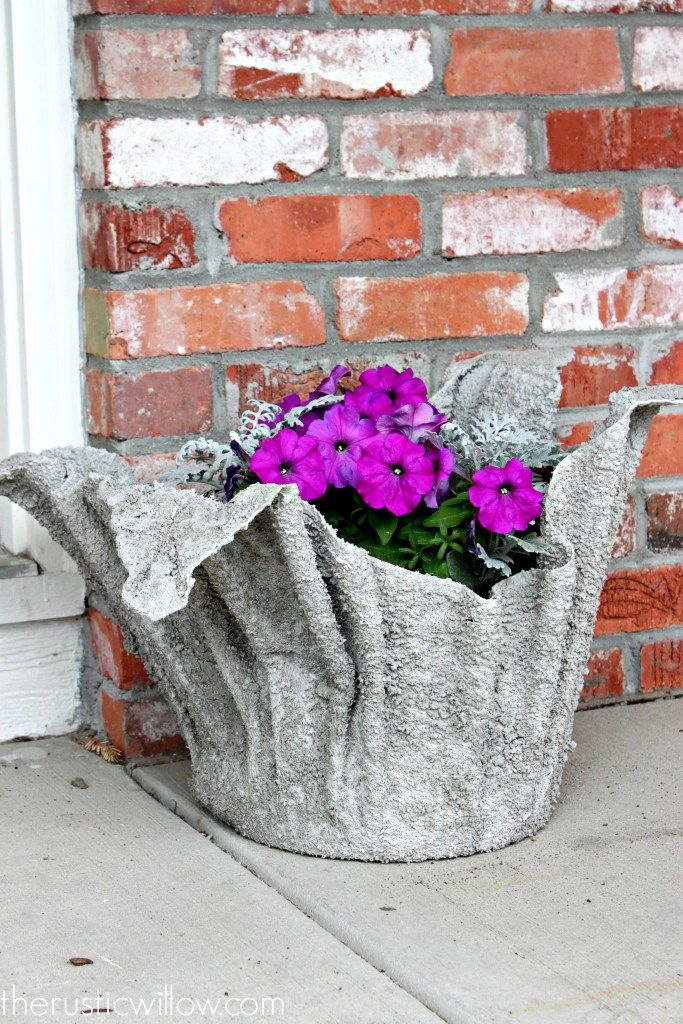 Concrete planter made with a towel from a special design