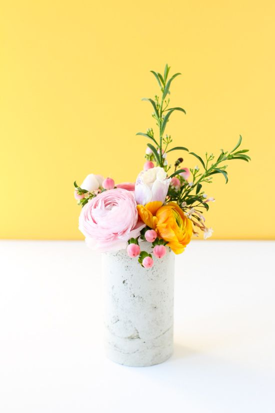 Concrete vase from a toilet paper tube