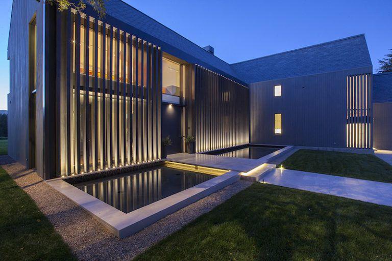 Contemporary Farmhouse Retreat - reflecting pool