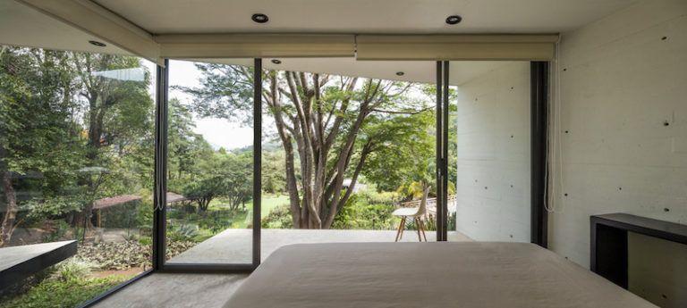 Contemporary cabin in Mexico bedroom view