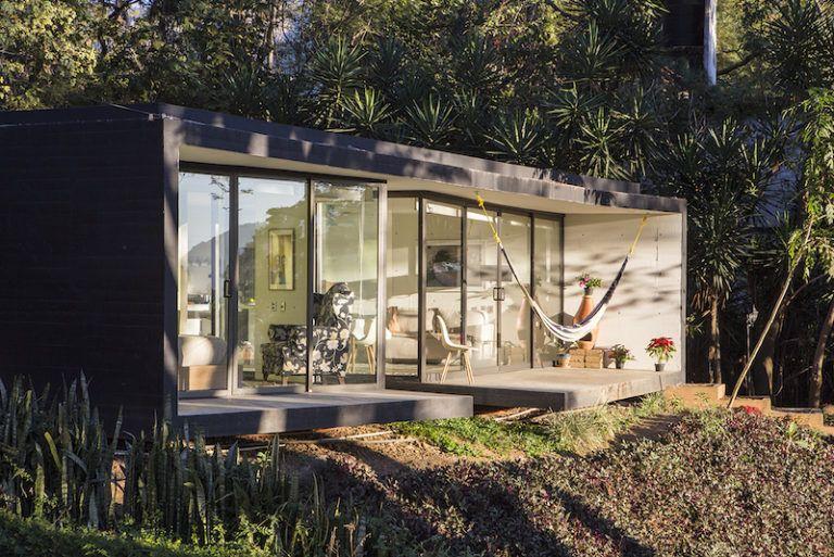 Contemporary cabin in Mexico porch view