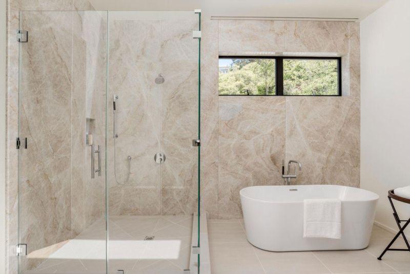 Contemporary home in Californian hillside bathroom shower
