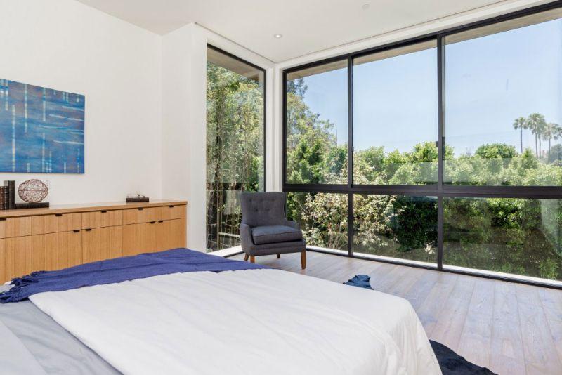 Contemporary home in Californian hillside bedroom windows