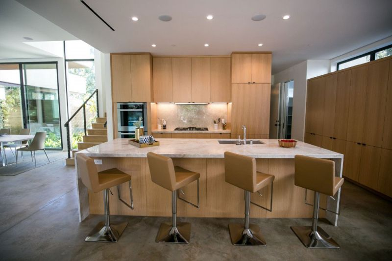 Contemporary Home In Californian Hillside Kitchen Island