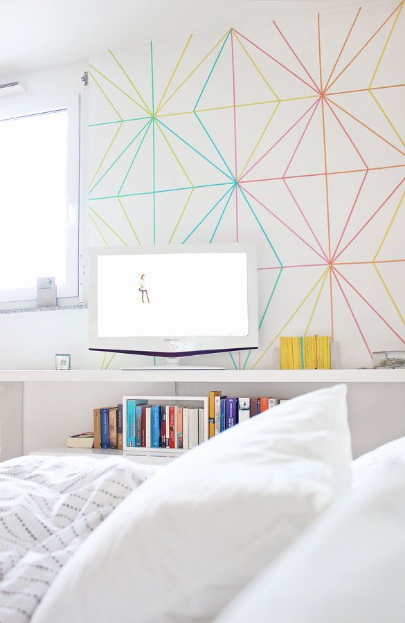 Create an accent wall with colorful washi tape