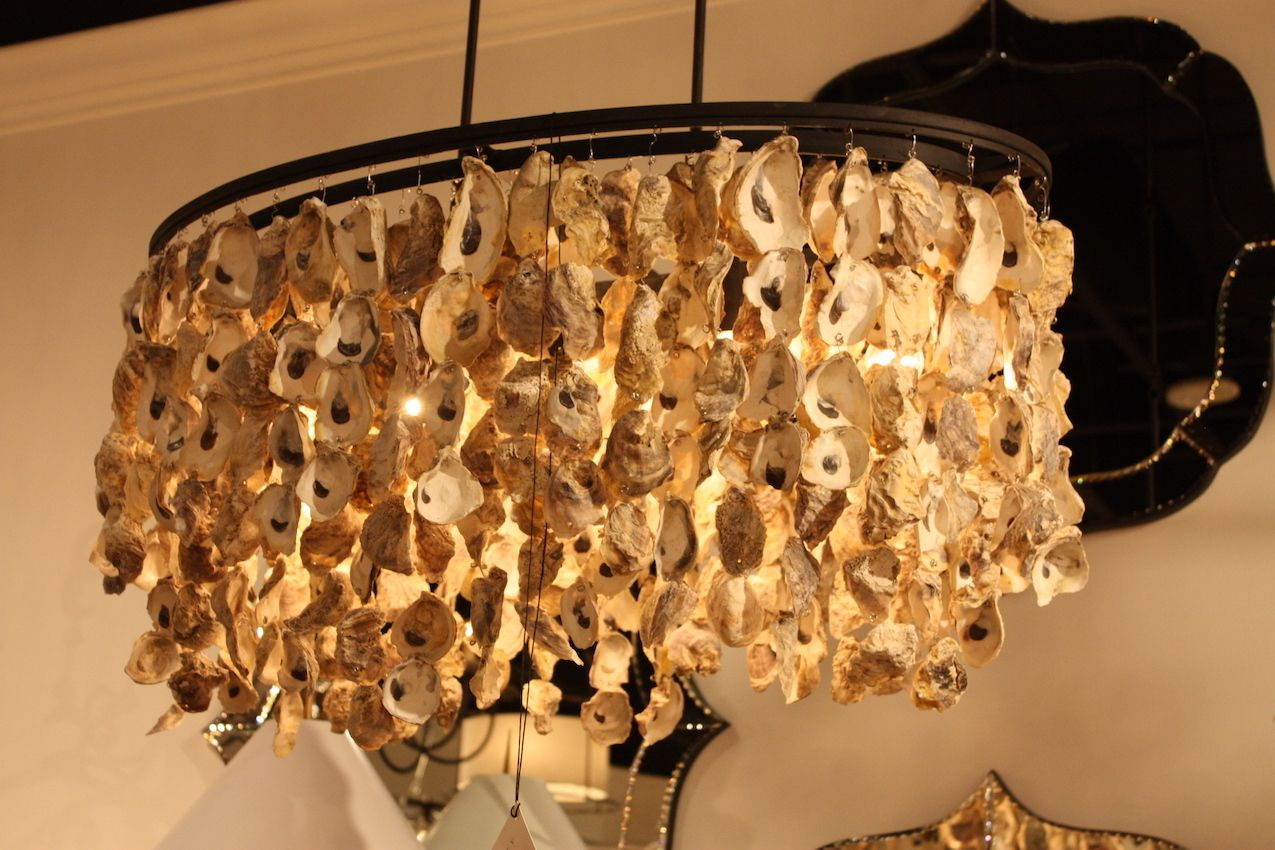 Curry oyster shell chandelier