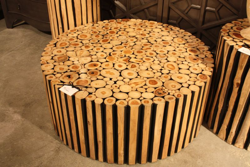 Cut wood with a round design on wheels